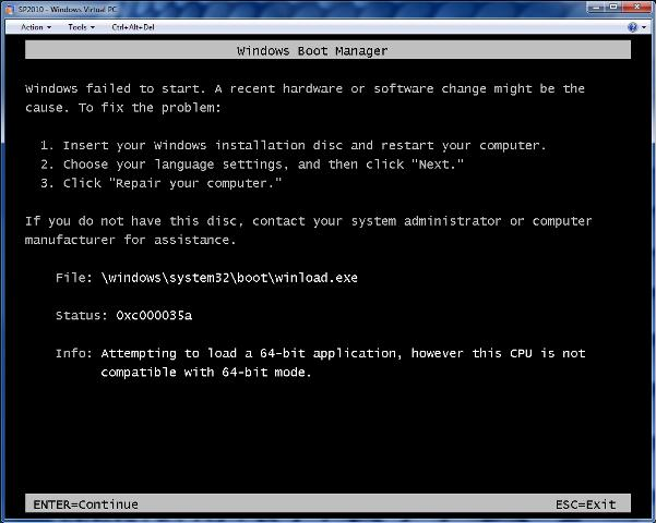 Windows Boot Manager Fail