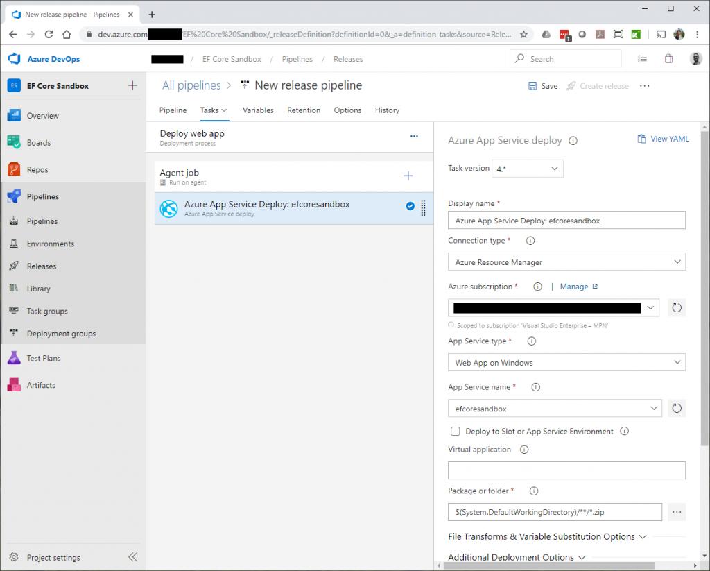 Azure App Service deploy task