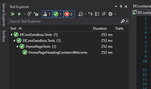 Visual Studio Test Explorer Passed Tests
