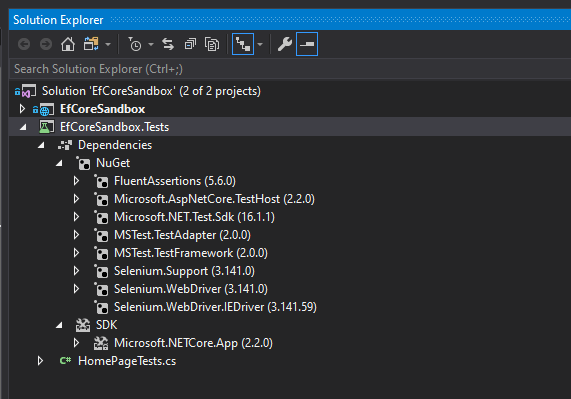 Visual Studio tests project